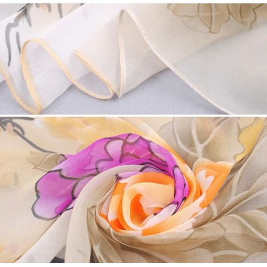 Bufanda de gasa ligera con estampado floral BUF00007F