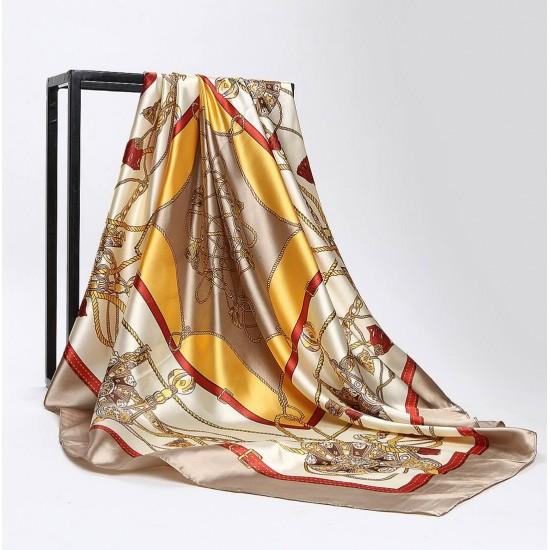 Pañuelo de seda para mujer grande, cuadrado y satinado BUF00001C