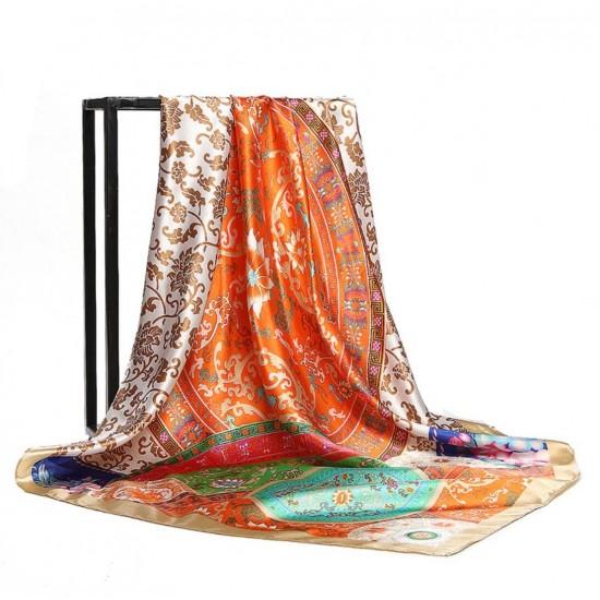 Pañuelo de seda para mujer grande, cuadrado y satinado BUF00004F