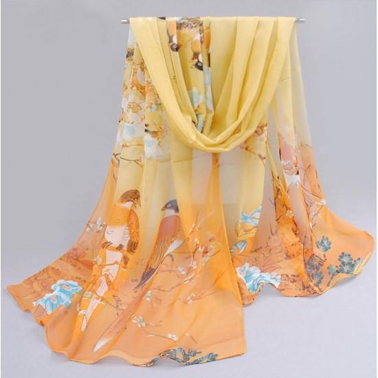 Bufanda de gasa ligera con estampado floral BUF00006F