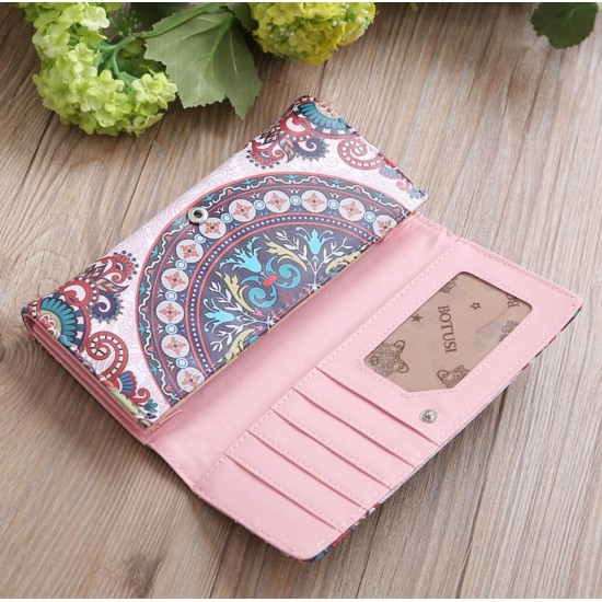 Billetera de cuero sintetico con diseño floral, linda, suave CAR00039