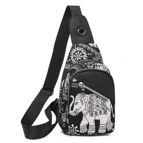 Bolso bandolera para mujer, de lona con diseño de elefante BOL00069