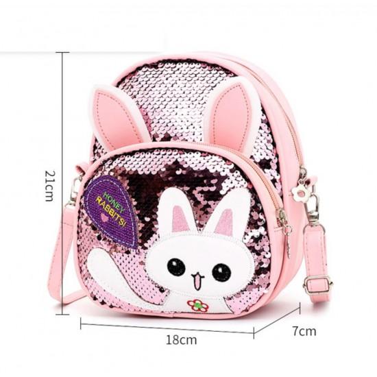 Mochila para la escuela de niños, con lentejuelas, con diseño de conejo MOC00106