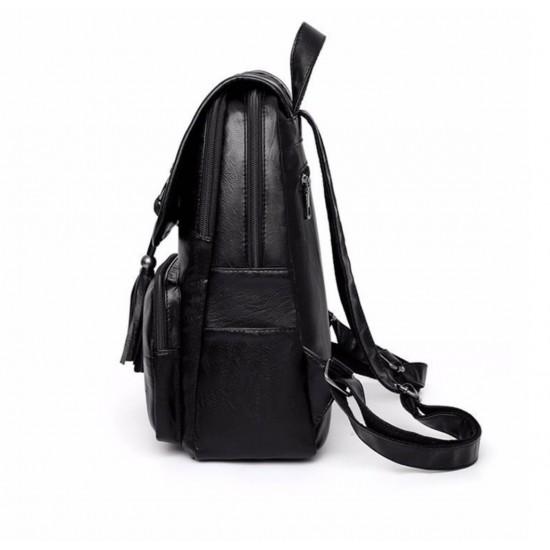 Mochila de cuero sintetico para mujer, tamaño mediano, color negro MOC00187