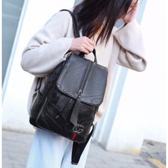 Mochila de cuero autentico para mujer, tamaño mediano, color negro MOC00188