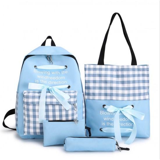 4 piezas de mochila de lona ligera para estudiantes MOC00078