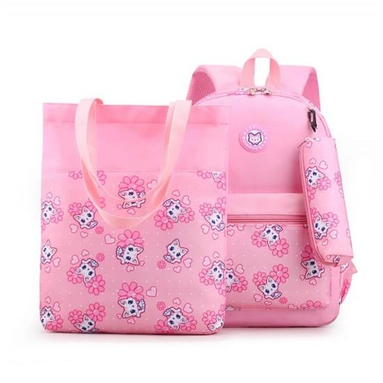 Mochila escolar impermeable para niñas con bolsa para libros, 3 unidades MOC00079