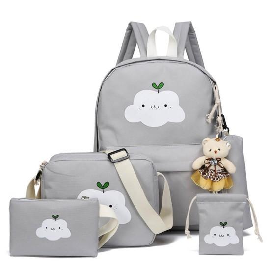 Juego de 5 mochila escolar de lona con diseño de nube MOC00023