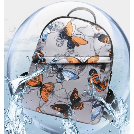 Mochila para mujer de nailon resistente al agua y antirrobo con mariposas MOC00062