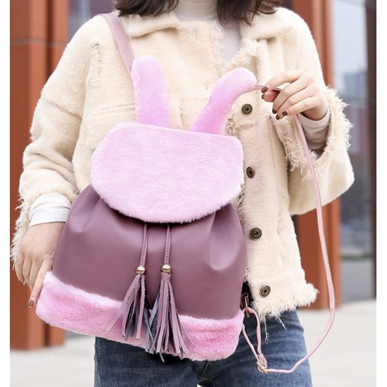 Mini mochila de piel sintética para mujer, diseño de conejo, bolso de hombro MOC00076