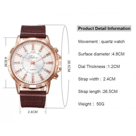 Reloj de cuarzo con correa de piel estilo casual para hombre REL00042