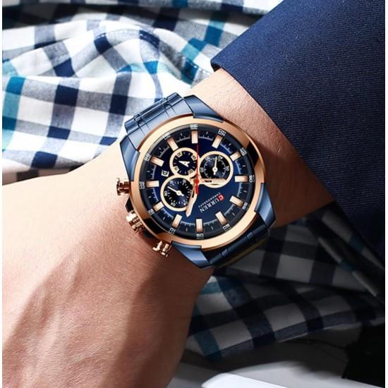Reloj de pulsera para hombre, de acero inoxidable, con cronógrafo, multifunción REL00063