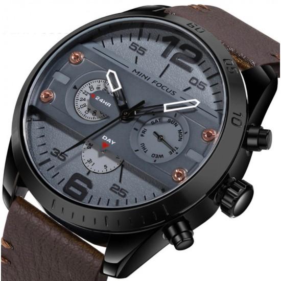 Reloj de cuarzo para hombre, casual para hombre, contra agua, piel auténtica REL00074