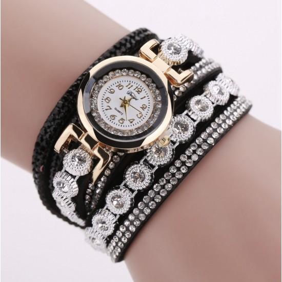 Reloj de cuarzo para mujer, lujoso, con pulsera de oro y diamantes de imitación REL00021