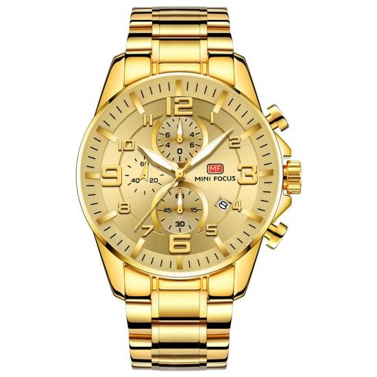 Reloj de lujo para hombre con correa de acero inoxidable, resistente al agua REL00075