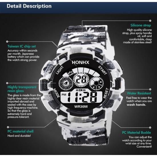 Reloj digital de hule marca HONHX para hombres REL00105