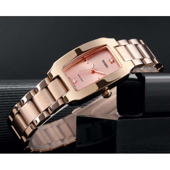 Reloj rectangular para mujer de acero inoxidable REL00134
