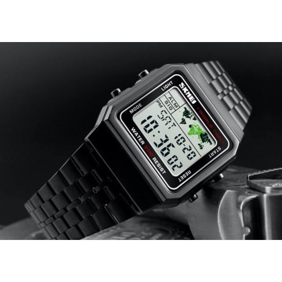 Reloj deportivo digital resistente al agua, faja de acero inoxidable, cuadrado, luz LED REL00144
