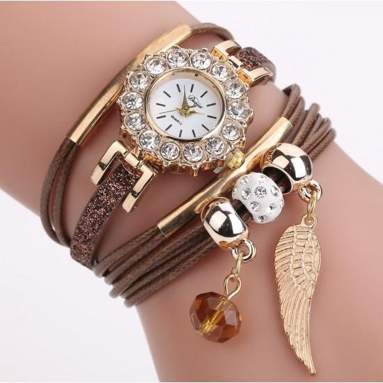 Reloj de pulsera para mujer con correa de piel de diamante REL00022