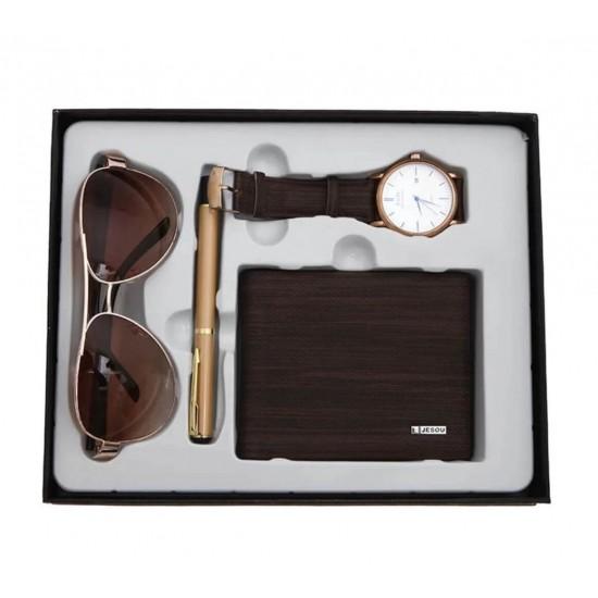 Juego de regalo para hombre reloj, billetera, anteojos, lapizero REL00096