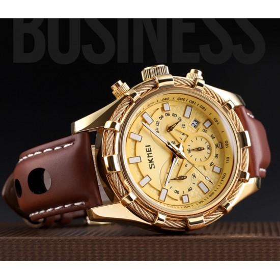 Reloj de pulsera para hombre, cronógrafo, analógico, de cuarzo, faja de cuero REL00135