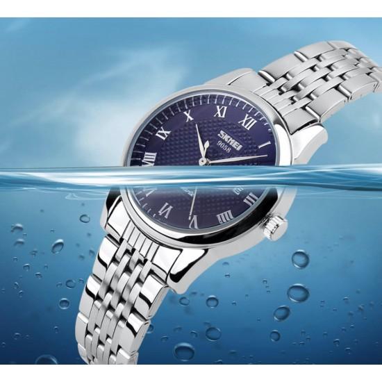 Reloj de pulsera de cuarzo para hombre con números romanos y correa de acero REL00056