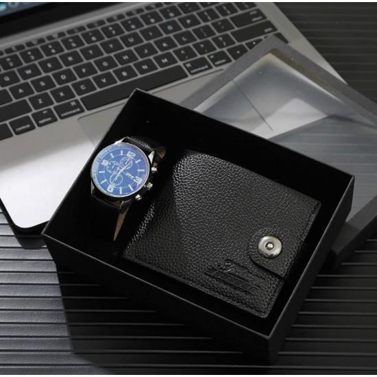 Juego de regalo para hombre reloj y billetera de cuero REL00097