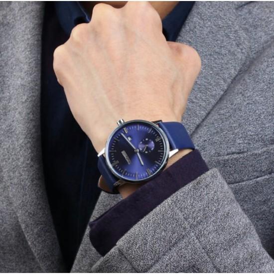 Reloj de pulsera de cuarzo para hombre con correa de cuero, resistente al agua REL00136
