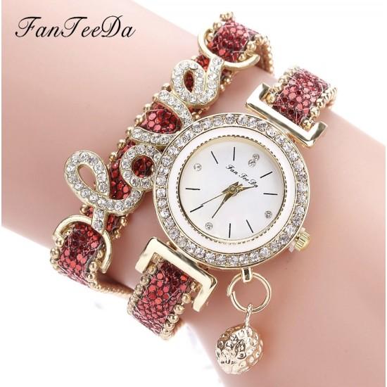 Moda Mujeres Dama pulsera de reloj de cuarzo analógico REL00024