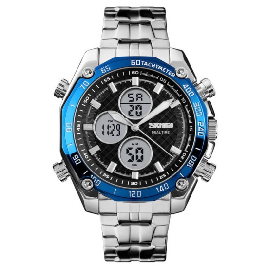 Reloj de pulsera para hombre SKMEI, resistente al agua, militar, analógico, digital, con cronógrafo LED multihora, de acero inoxidable REL00057