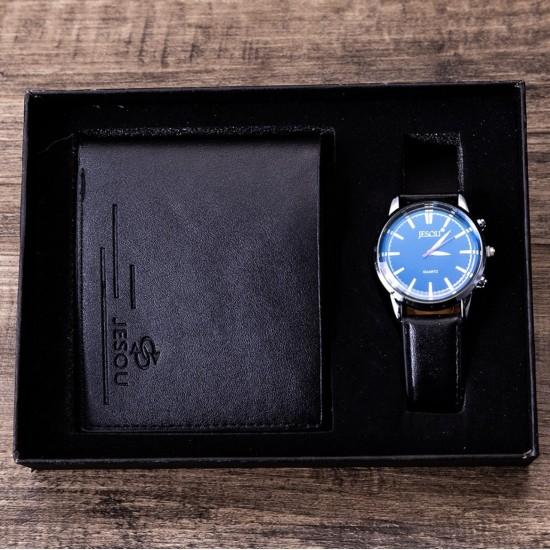 Juego de regalo de cumpleaños para hombre, reloj de piel sintética, cartera REL00005