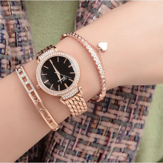 Juego de pulsera y reloj con cristales Swarovski para mujer REL00015
