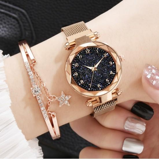 Reloj de pulsera de cuarzo para mujer, diseño de cielo estrellado, correa de acero inoxidable con diamantes de imitación REL00025