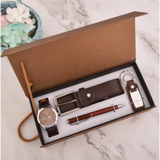 Juego de regalo de cumpleaños para hombre, reloj, cinturón, boligrafo, llaveroREL00037