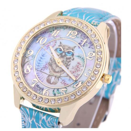 Reloj de mujer, incrustado con diamantes, correa de piel sintética con estampado de rosas REL00039