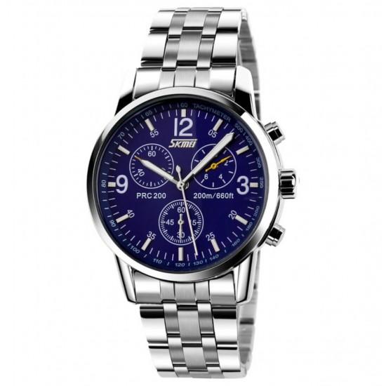 Reloj de pulsera analógico de cuarzo para hombre, resistente al agua, con correa de acero REL00049