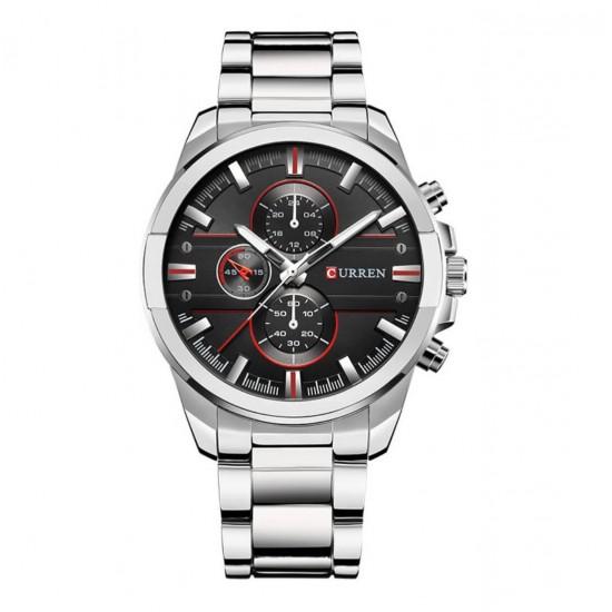 Reloj de pulsera deportivo para hombre, correa de acero inoxidable, resistente al agua REL00060