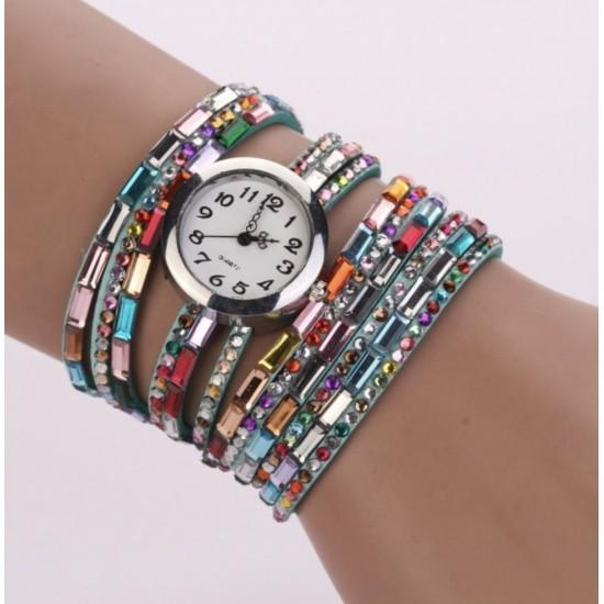 Reloj bohemio, pulsera de cuero, cuerda de cuarzo REL00018
