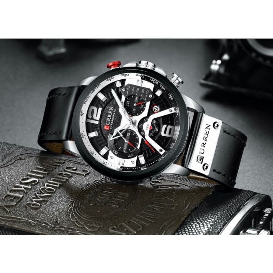 Reloj de pulsera de cuarzo para hombre, multifunción, estilo casual, a prueba de agua, correa de piel REL00061