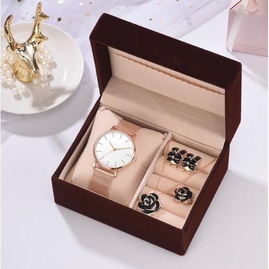 Set de regalo con perlas para mujer Reloj+collar+aretes+anillo REL00072
