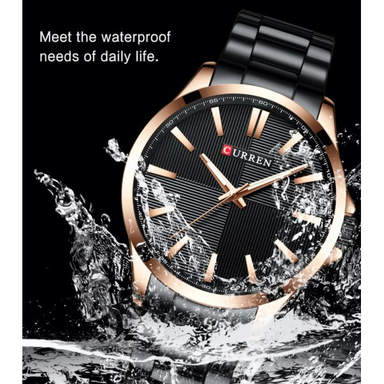 Reloj de pulsera para hombre, estilo simple, resistente al agua, correa de acero REL00062