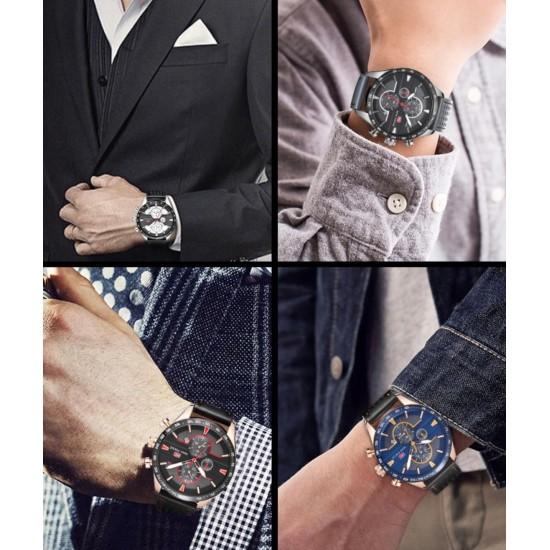 Reloj de cuarzo analógico para hombre, con correa de piel, calendario, fecha, para deportes de negocios REL00073