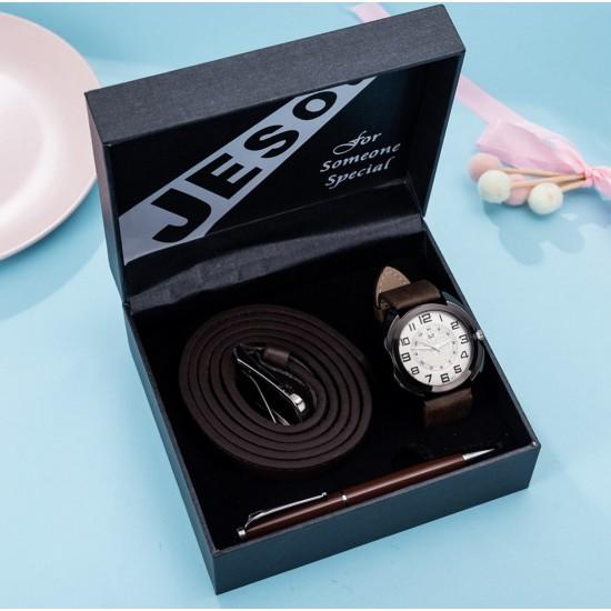 Set de regalo para hombre reloj + cinturón + boligrafo REL00010