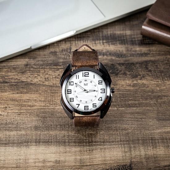 Reloj de pulsera para hombre con correa de cuero REL00030