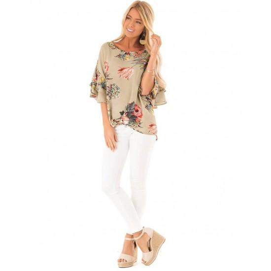 Blusa de cuello redondo para mujer, estilo casual CAM00003C