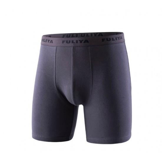 Boxer pierna larga de 100% algodón para hombre, gris oscuro BOX00010F