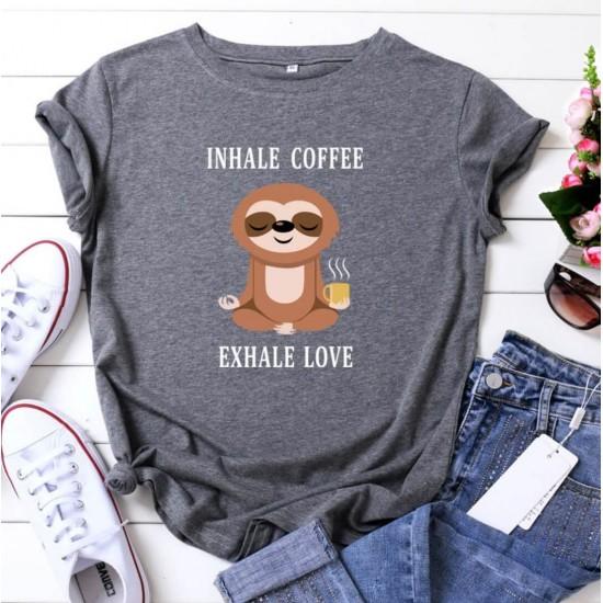 Camiseta para mujer divertida con diseño de café CAM00015B