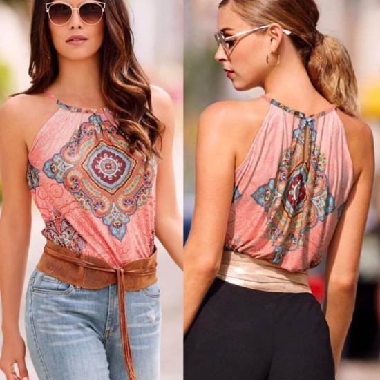 Blusa de verano para mujer, sin mangas, diseño retro CAM00006A