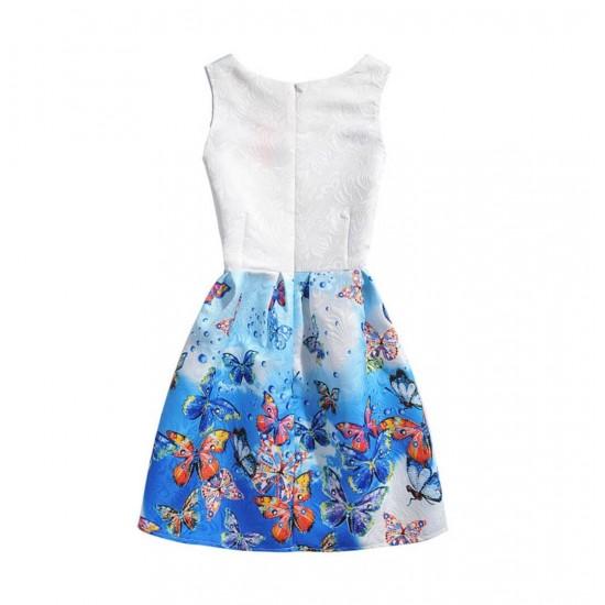 Vestido de verano con estampado floral de mariposas, sin mangas, para niñas VES00002A