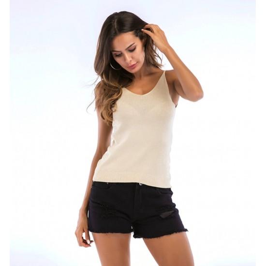 Camiseta sin mangas para mujer con cuello en V CAM00013A